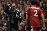 Photo: Paul Thomas.<br /> Liverpool v Barcelona. UEFA Champions League. Last 16, 2nd Leg. 06/03/2007.<br /> <br /> Rafael Benitez, manager of Liverpool talks to Alvaro Arbeloa.