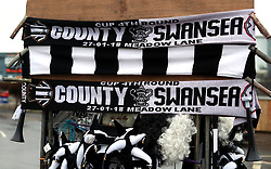 """Half and half scarves for sale outside the ground before the Emirates FA Cup, fourth round match at Meadow Lane, Nottingham. PRESS ASSOCIATION Photo. Picture date: Saturday January 27, 2018. See PA story SOCCER Notts County. Photo credit should read: Mike Egerton/PA Wire. RESTRICTIONS: EDITORIAL USE ONLY No use with unauthorised audio, video, data, fixture lists, club/league logos or """"live"""" services. Online in-match use limited to 75 images, no video emulation. No use in betting, games or single club/league/player publications."""