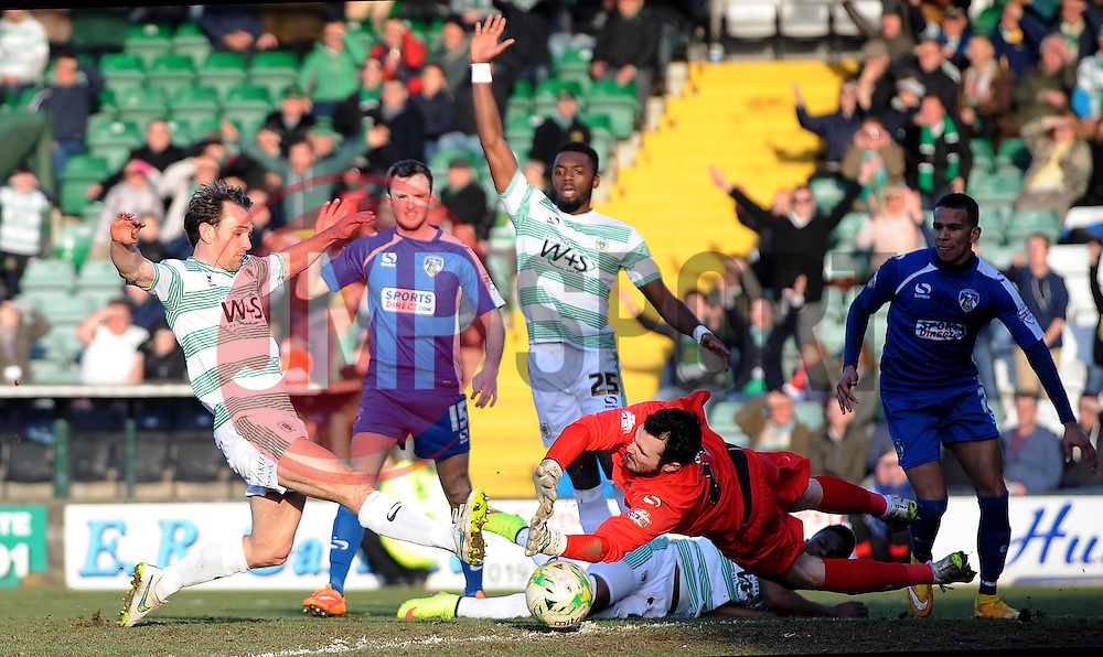 Yeovil Town's James Hayter scores his sides goal  - Photo mandatory by-line: Harry Trump/JMP - Mobile: 07966 386802 - 07/03/15 - SPORT - Football - Sky Bet League One - Yeovil Town v Oldham Athletic - Huish Park, Yeovil, England.