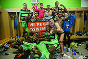 FGR players celebrate in the changing room during the Vanarama National League Play Off second leg match between Forest Green Rovers and Dagenham and Redbridge at the New Lawn, Forest Green, United Kingdom on 7 May 2017. Photo by Shane Healey.