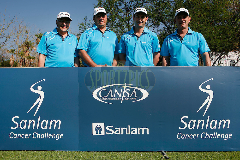 Shane Zinn, Werner Lotriet, Jean Lombard and Pieter Bester during round one of the Sanlam Cancer Challenge Delegates competition 2012 held at The Gary Player Golf and Country Club at Sun City on the 22nd October 2012...Photo by Mark Wessels/SPORTZPICS