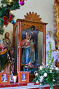Statues of saints, including some Spanish Colonial santos, line the walls of the church of Santa Maria de la Asuncion, Tule, Mexico.