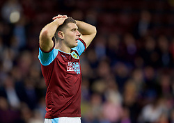 BURNLEY, ENGLAND - Thursday, August 16, 2018: Burnley's Sam Vokes looks dejected after missing a chance during the UEFA Europa League Third Qualifying Round 2nd Leg match between Burnley FC and İstanbul Başakşehir at Turf Moor. (Pic by David Rawcliffe/Propaganda)