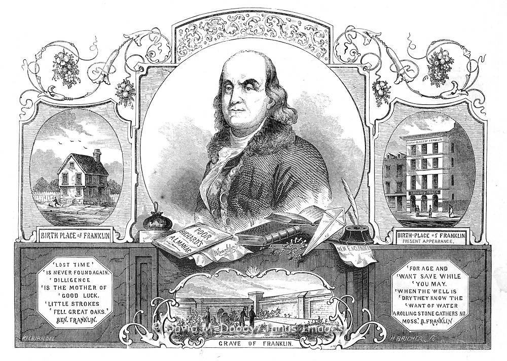 "1854 cover ""Doctor Franklin"" Benjamin Franklin (1706-1790) Gleason's Pictorial from Gleason's Illustrated 1854   House where Franklin was born on Milk Street in Boston 1706. Poor Richard's Almanack, Kite, Printer's Ink Ball, Franklin's Grave in Philadelphia."