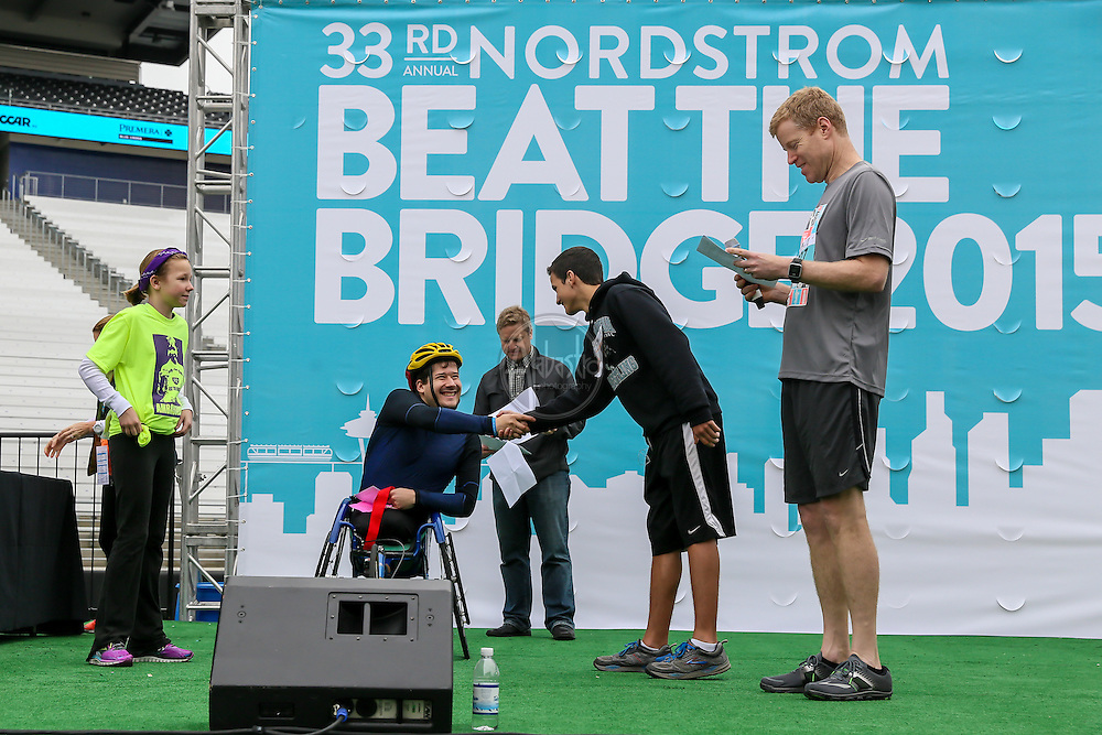 33rd Annual Nordstrom Beat the Bridge Run award winners - wheelchair division.