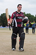 Jim Allenby makes 89 off 45 balls including 9 fours and 4 sixes  during the NatWest T20 Blast South Group match between Middlesex County Cricket Club and Somerset County Cricket Club at Uxbridge Cricket Ground, Uxbridge, United Kingdom on 26 June 2015. Photo by David Vokes.