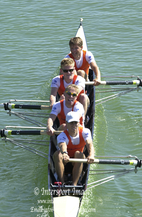 Peter Spurrier Sports  Photo.email pictures@rowingpics.com.Tel 44 (0) 7973 819 551.Tel/Fax 44 (0) 1784 440 772..NED LM4-..Karel Dormans (B) Jeroen Spaans, Joeri De Groot and stroke Gerard Van Der Linden 20010515 FISA World Cup, Seville, SPAIN
