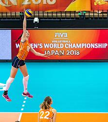 07-10-2018 JPN: World Championship Volleyball Women day 8, Nagoya<br /> Netherlands - Puerto Rico 3-0 / Lonneke Sloetjes #10 of Netherlands