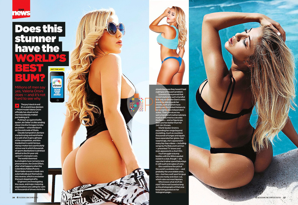 Our superhot shoot of Valeria Orsini - the Colombian / Italian / Puerto Rican model and actress who is often celebrated for her fabulous derriere - is featured in the December issue of ZOO Weekly magazine, Australia.<br />
