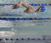 Bedford High School sophomore Brendan Goodhue  competes in the 100 yard freestyle during the DCL meet at Atkinson Pool in Sudbury, Jan. 31, 2015.   (Wicked Local Photo/James Jesson)