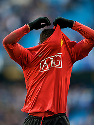 MANCHESTER, ENGLAND - Sunday, November 30, 2008: Manchester United's Patrice Evra during the Premiership match against Manchester City at the City of Manchester Stadium. (Photo by David Rawcliffe/Propaganda)