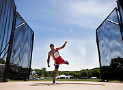 St. Joseph Christian's Max Carrillo follows through after throwing while performing in the discus competition in the 2014 MSHSAA Track Championships at Lincoln University on May 23, 2014 in Jefferson City. (David Welker | Special to the News-Press)