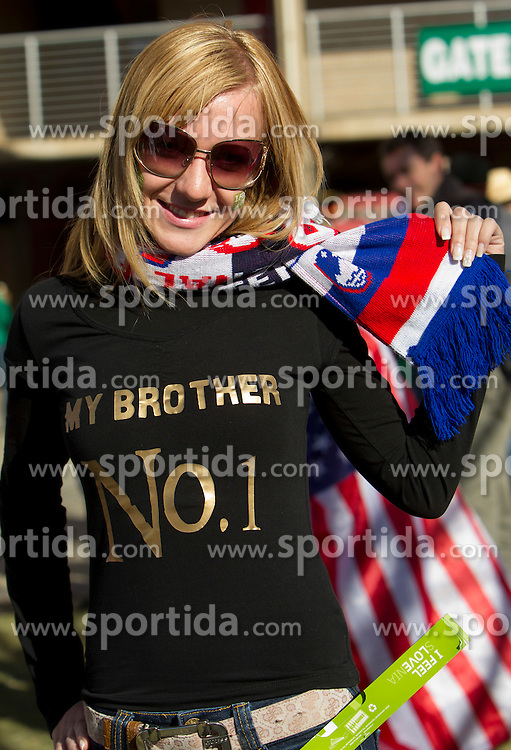 Elisa Dedic, sister of player Zlatko Dedic  prior to  the 2010 FIFA World Cup South Africa Group C match between Slovenia and USA at Ellis Park Stadium on June 18, 2010 in Johannesberg, South Africa. (Photo by Vid Ponikvar / Sportida)