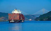 Panama, Panama Canal, Centennial Bridge, Gaillard Cut, Cargo Ship