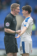 Connor Jennings (Tranmere Rovers) is talked to by the referee, but doesn't receive a caution during the Vanarama National League second leg play off match between Tranmere Rovers and Aldershot Town at Prenton Park, Birkenhead, England on 6 May 2017. Photo by Mark P Doherty.