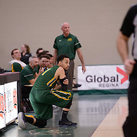 5th year guard Aaron McGowan (1) of the Regina Cougars in action during the home game on December  3 at Centre for Kinesiology, Health and Sport. Credit: Matt Johnson/Arthur Images