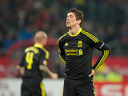 UTRECHT, THE NETHERLANDS - Thursday, September 30, 2010: Liverpool's Fernando Torres looks dejected after missing a chance against FC Utrecht during the UEFA Europa League Group K match at the Stadion Galgenwaard. (Photo by David Rawcliffe/Propaganda)