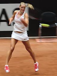 19-04-2014 NED: Fed Cup Nederland - Japan, Den Bosch<br /> Arantxa Rus verliest haar eerste partij van Japan met 2-1
