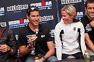 Craig Alexander (AUS) and Mirinda Carfrae (AUS) . Official Pre-Race Press Conference. 2012 Ironman Melbourne. Asia-Pacific Championship. Hosted By USM Events. 22/03/2012. Photo By Lucas Wroe.