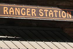 Ranger station sign on building