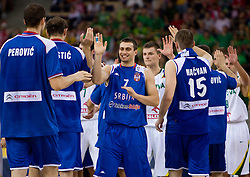Ivan Paunic of Serbia celebrates after the EuroBasket 2009 Group F match between Serbia and Lithuania, on September 16, 2009 in Arena Lodz, Hala Sportowa, Lodz, Poland.  (Photo by Vid Ponikvar / Sportida)