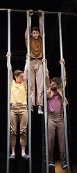 "© Licensed to London News Pictures. 10/01/2013. London, England. L-R: Charlotte Mooney, Luke Horley and Alex Harvey. ""Not Until We Are Lost"", performed by the aerial theatre group ""Ockham's Razor"" for the start of the London International Mime Festival 2013 at the new Platform Theatre King's Cross. The London International Mime Festival (LIMF'13) runs from 10 to 27 January 2013. Performers: Alex Harvey (red T-shirt), Luke Horley (brown T-shirt), Tina Koch (blue T-shirt) and Charlotte Mooney (yellow T-shirt). Photo credit: Bettina Strenske/LNP"