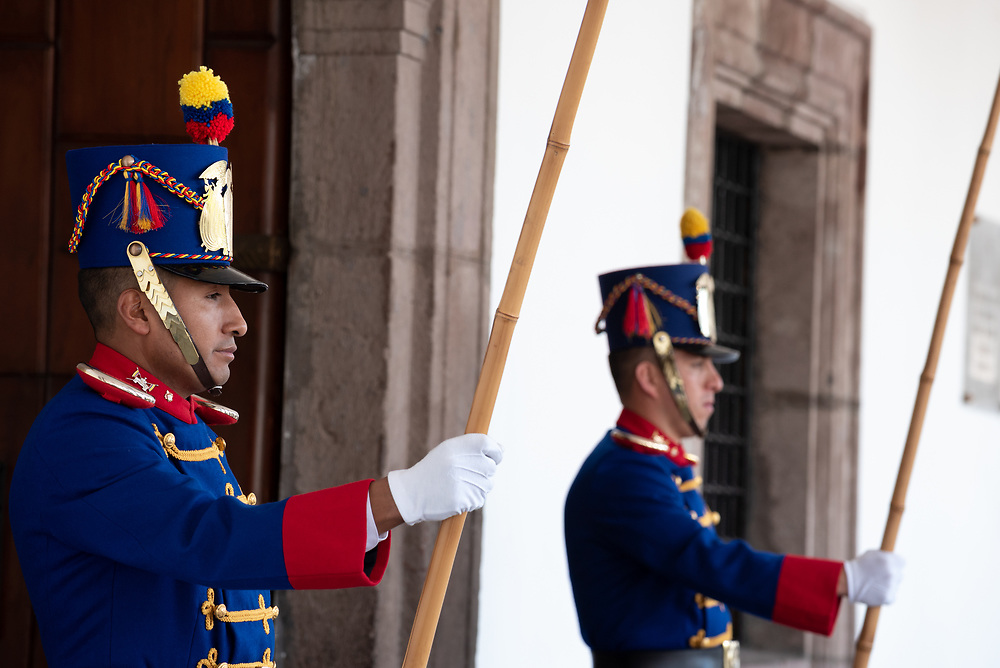 Presidential guard at the Carondelet Palace in the historic old city of Quito, Ecuador.