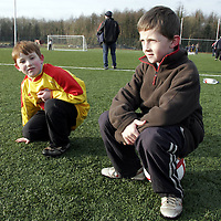 Gary Roche and Gavin O'Flaherty take in all the action during a soccer blitz at Lees Road on Saturday morning.<br /> <br /> Photograph by Yvonne Vaughan.