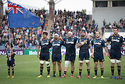 Highlanders players line up for the national anthem before the Natixis Cup rugby match between French team Racing 92 and New Zealand team Otago Highlanders at Sui San Wan Stadium in Hong Kong. <br /> L to R Captain SHANE CHRISTIE,ASH DIXON,JOSH HOHNECK,ELLIOT DIXON, MATT FADDES and JOE WHEELER.