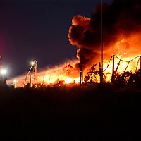 Fire crews combined efforts to put out the blaze that struck the Gas Max located along U.S. Highway 491 in the China Springs area north of Gallup Wednesday evening.