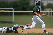 Pennsylvania's Adam Romavows makes the diving tag to get out West Deptford's Tommy Jakubowski in a rundown between 2nd and 3rd base during a elimination bracket game of the Eastern Regional Senior League tournament held in West Deptford on Monday, August 8.