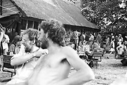 Lunchtime at Goose Hall, Glastonbury, Somerset, 1989
