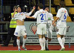 Rok Straus celebrates with his team his goal at 30th Round of Slovenian First League football match between NK Domzale and NK MIK CM Celje in Sports park Domzale, on April 25, 2009, in Domzale, Slovenia. Celje won 3:0. (Photo by Vid Ponikvar / Sportida)