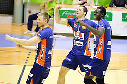 Andrej Flajs  and other players during volleyball game between OK Panvita Pomgrad and ACH Volley in 2nd semifinal match of  Slovenian National Championship 2015, on April 5, 2015 in Murska Sobota, Slovenia. Photo by Mario Horvat / Sportida