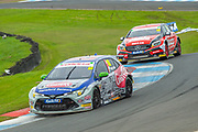 Tom INGRAM (GBR)(#80) of Team Toyota GB with Ginsters exits chicane followed by Adam MORGAN (GBR)(#33) of Mac Tools with Ciceley Motorsport during Round 22 of the 2019 British Touring Car Championship at Knockhill Racing Circuit, Dunfermline, Scotland on 15 September 2019.