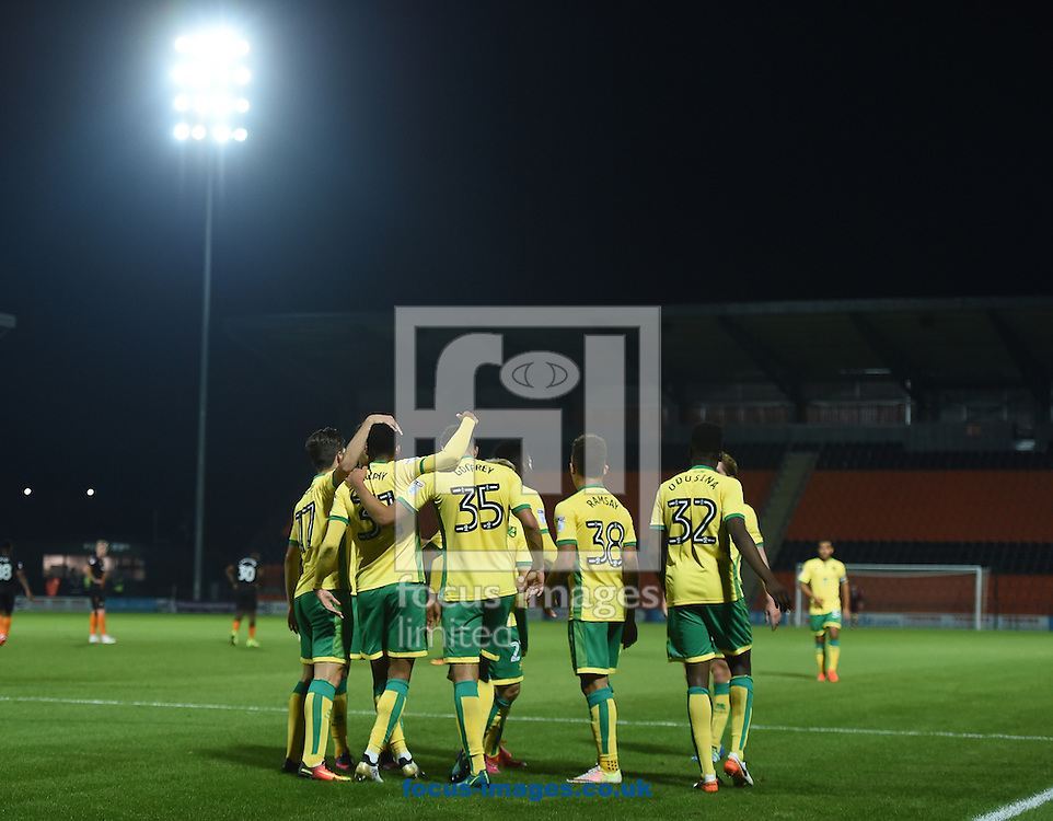 Josh Murphy of Norwich City U23 celebrates scoring their first goal with team mates during the Checkatrade Trophy match at Underhill Stadium, London<br /> Picture by Daniel Hambury/Focus Images Ltd +44 7813 022858<br /> 04/10/2016