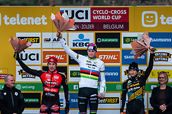 Podium of the Men Elite race with 1st VAN DER POEL Mathieu (NED), 2nd SWEECK Laurens (BEL) and 3rd HERMANS Quinten (BEL), 2019 UCI Cyclo-cross World Cup Heusden-Zolder, Belgium, 26 December 2019. <br /> <br /> Photo by Pim Nijland / PelotonPhotos.com <br /> <br /> All photos usage must carry mandatory copyright credit (Peloton Photos | Pim Nijland)
