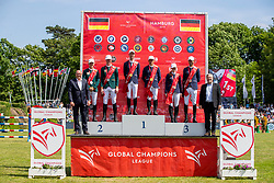 Siegerehrung Global Champions League<br /> Hamburg - 90. Deutsches Spring- und Dressur Derby 2019<br /> Siegerehrung<br /> GLOBAL CHAMPIONS LEAGUE<br /> CSI5* Int. Springprüfung nach Fehlern und Zeit <br /> Wertungsprüfung der Global Champions League <br /> Qualifikation zum LGCT Grand Prix<br /> 01. Juni 2019<br /> © www.sportfotos-lafrentz.de/Stefan Lafrentz