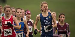 London, Ontario ---2012-11-10--- Fiona Benson of Trinity Western Spartans competes at the 2012 CIS Cross Country Championships at Thames Valley Golf Course in London, Ontario, November 10, 2012. .GEOFF ROBINS Mundo Sport Images