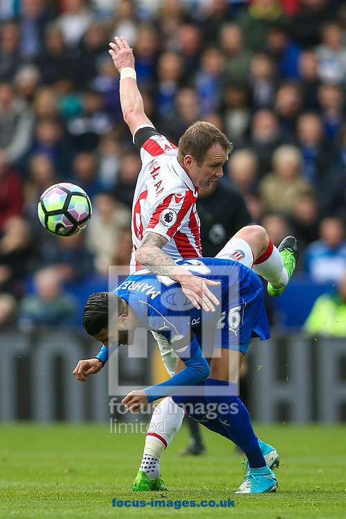 Riyad Mahrez of Leicester City (left) competing with Glenn Whelan of Stoke City (right) during the Premier League match at the King Power Stadium, Leicester<br /> Picture by Andy Kearns/Focus Images Ltd 0781 864 4264<br /> 01/04/2017