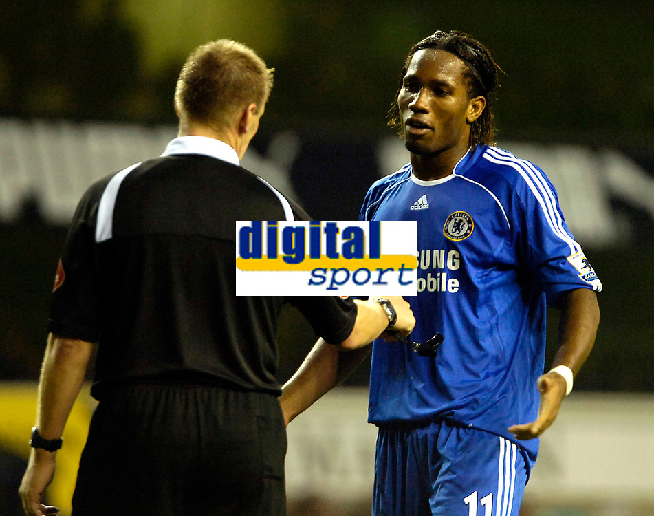 Photo: Ed Godden.<br /> Tottenham Hotspur v Chelsea. The Barclays Premiership. 05/11/2006. Chelsea's Didier Drogba has words with Referee Graham Poll.