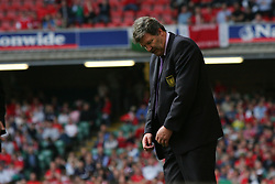 CARDIFF, WALES - SATURDAY MARCH 26th 2005: Wales' manager John Toshack looks dejected after losing 2-0 to Austria during the Wold Cup Qualifying match at the Millennium Stadium. (Pic by David Rawcliffe/Propaganda)