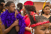 20 JANUARY 2003 - PHOENIX, AZ:  Girls prepare to go on stage during a talent show in Margaret T. Hance Park on MLK Day in Phoenix.   PHOTO BY JACK KURTZ