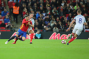 Spain striker Alvaro Morata (07) battles for possesion with England defender Phil Jagielka (16) during the Friendly match between England and Spain at Wembley Stadium, London, England on 15 November 2016. Photo by Matthew Redman.