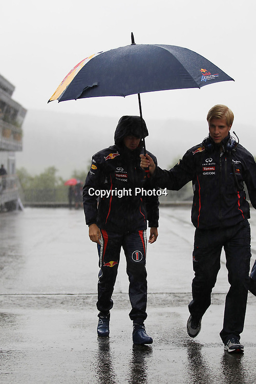 &copy; Photo4 / LaPresse<br /> 31/8/2012 Spa-Francorchamps, Belgium<br /> Belgian Grand Prix, Spa-Francorchamps 30 August - 02 September 2012<br /> In the pic: Sebastian Vettel (GER), Red Bull Racing, RB8 during a heavy rain shower