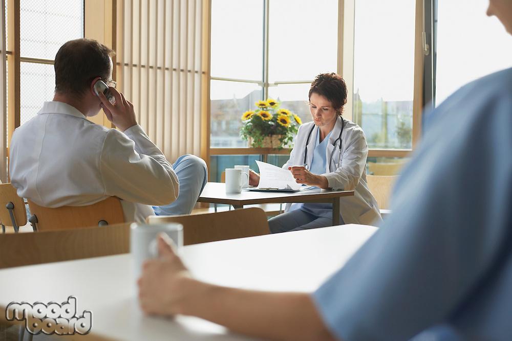 Doctors on Work Break in Cafeteria
