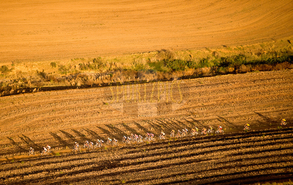 GREYTON, SOUTH AFRICA - Aerial view of Absa Cape Epic leading riders during stage five , 5 , of the Absa Cape Epic Mountain Bike Stage Race held between Greyton and Oak Valley ( Elgin / Grabouw ) on the 26 March 2009 in the Western Cape, South Africa..Photo by Karin Schermbrucker  /SPORTZPICS