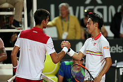 May 18, 2018 - Rome, Rome, Italy - 18th May 2018, Foro Italico, Rome, Italy; Italian Open Tennis; (L-R) Novak Djokovic (SRB) greets Kei Nishikori (JPN) after winnig their quater-final match 2-6 6-1, 6-3. Credit: Giampiero Sposito/Pacific Press (Credit Image: © Giampiero Sposito/Pacific Press via ZUMA Wire)