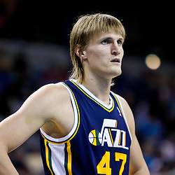 December 17, 2010; New Orleans, LA, USA; Utah Jazz small forward Andrei Kirilenko (47) against the New Orleans Hornets during the first half at the New Orleans Arena.  The Hornets defeated the Jazz 100-71. Mandatory Credit: Derick E. Hingle