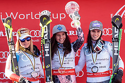 15.03.2018, Aare, SWE, FIS Weltcup Ski Alpin, Finale, Aare, SuperG Weltcup, Siegerehrung, im Bild v.l. Lara Gut (SUI, SuperG Weltcup 2. Platz), Tina Weirather (LIE, SuperG Weltcup Sieger), Anna Veith (AUT, SuperG Weltcup 3. Platz) // f.l. Super G World Cup 2nd placed Lara Gut of Switzerland SuperG World Cup winner Tina Weirather of Liechtenstein Super G World Cup 3rd placed Anna Veith of Austria during the winner Ceremony for the SuperG Worlcup of FIS Ski Alpine World Cup finals in Aare, Sweden on 2018/03/15. EXPA Pictures © 2018, PhotoCredit: EXPA/ Johann Groder